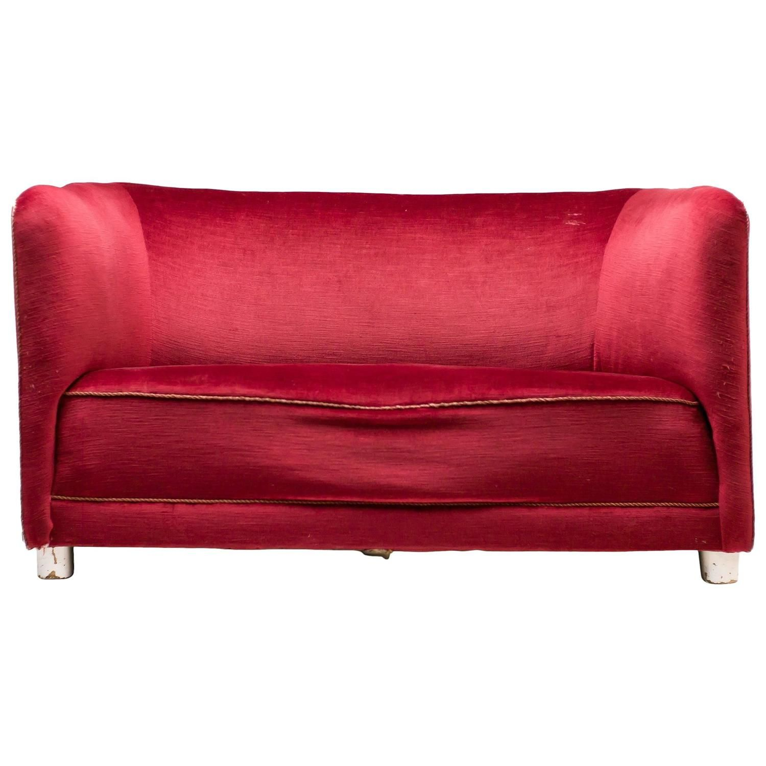 1930s red velvet sofa by ole wanscher for fritz hansen my 1stdibs rh pinterest com