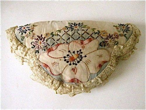 Vtg Antique 20s 30s Floral Embroidered Bolster Sham PILLOW Cottage Linen Lace