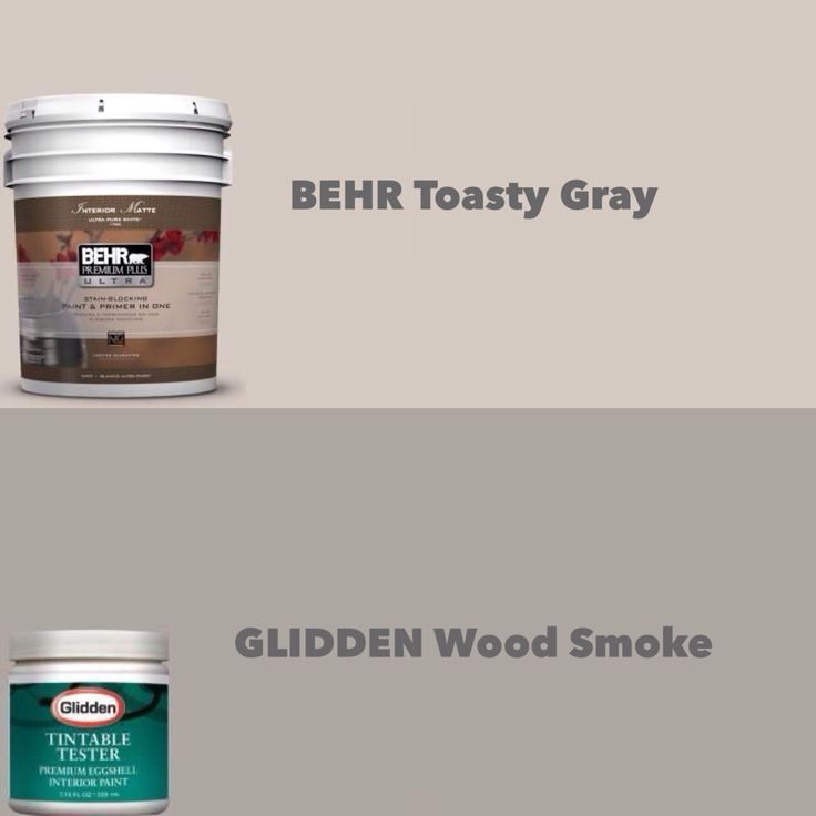 Glidden Bathroom Paint: BEHR Toasty Gray & GLIDDEN Wood Smoke (just