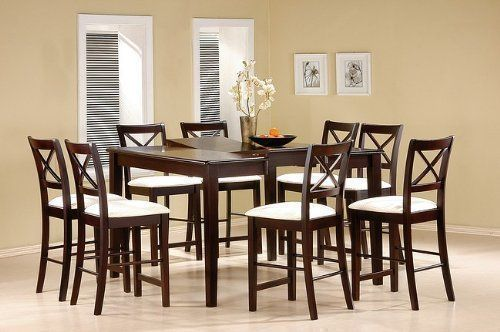 9 piece cappuccino finish counter height dining set with butterfly rh pinterest com