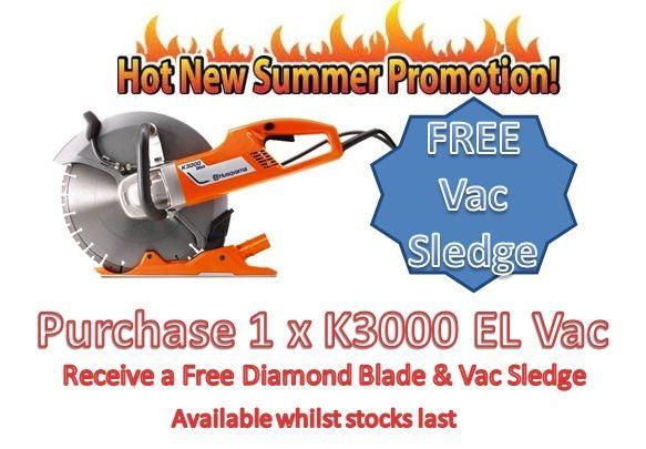 Husqvarna K3000 El Vac Electric Power Cutter C W Blade 110v 14 350mm Electric Power Blade Red Band