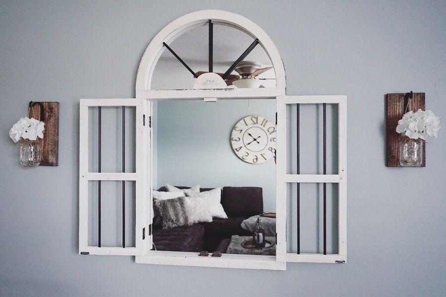 window mirror mason jar lights make the perfect wall decor for a rh pinterest com