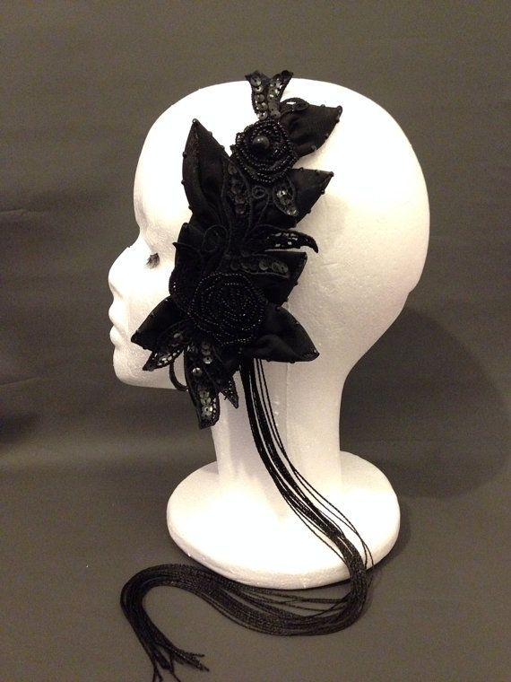 One of a kind, handmade headband inspired by 1920's 1920s 1930's Great Gatsby costume style fashion. Unique hair wear hats. Vintage Glamour costume fancy dress. Long tassels Handmade by Parody Petals