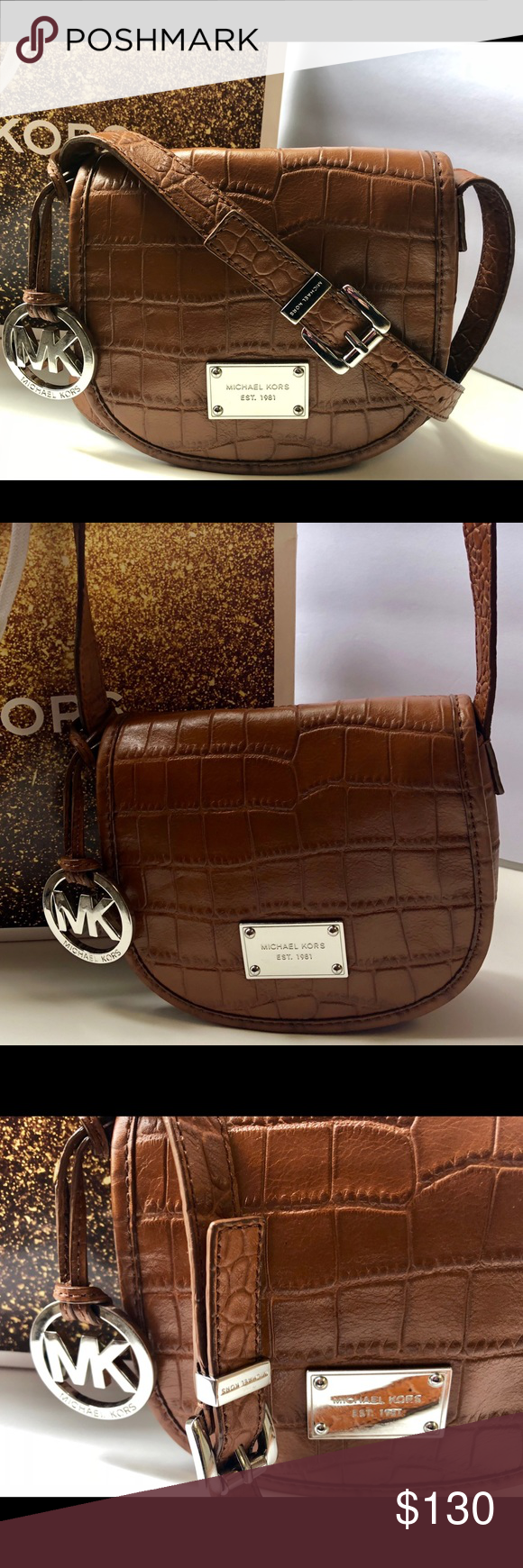 a9017020b229 Michael Kors Ginny Embossed Acorn CrossBody Excellent Condition ) Michael  Kors Ginny Embossed Leather Acorn