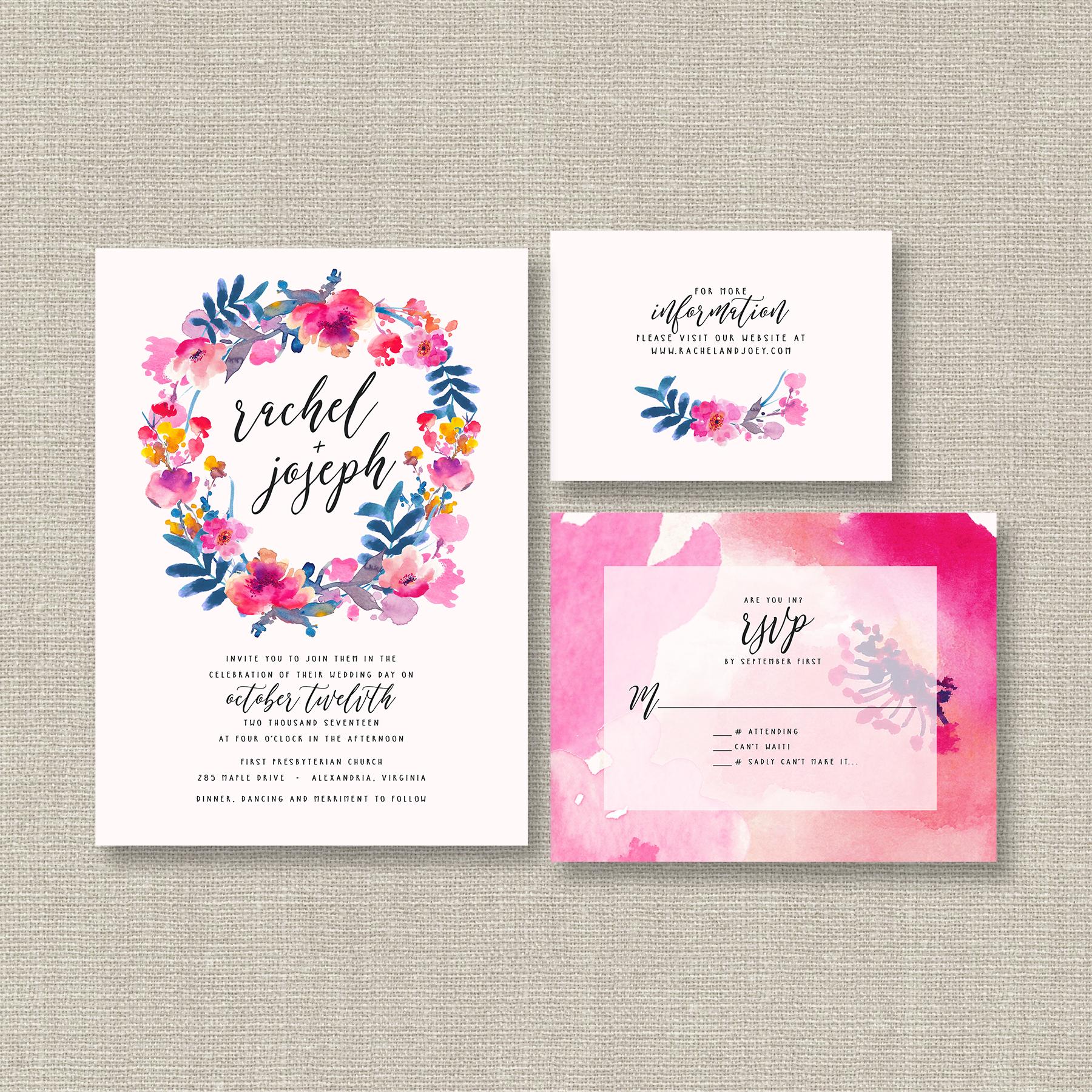 Watercolor Wedding Invitation Suite - featuring bright & bold ...