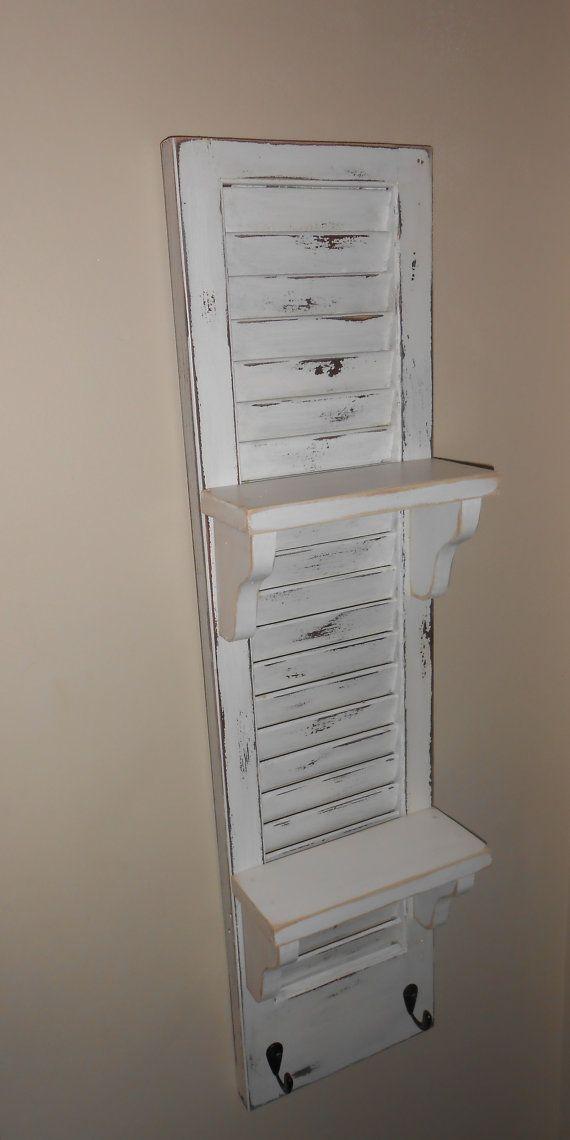 Display Shelf White Shutter Shelf Vintage Shutter By Atticjoys1 Display Shelves White Shutters Vintage Shutters