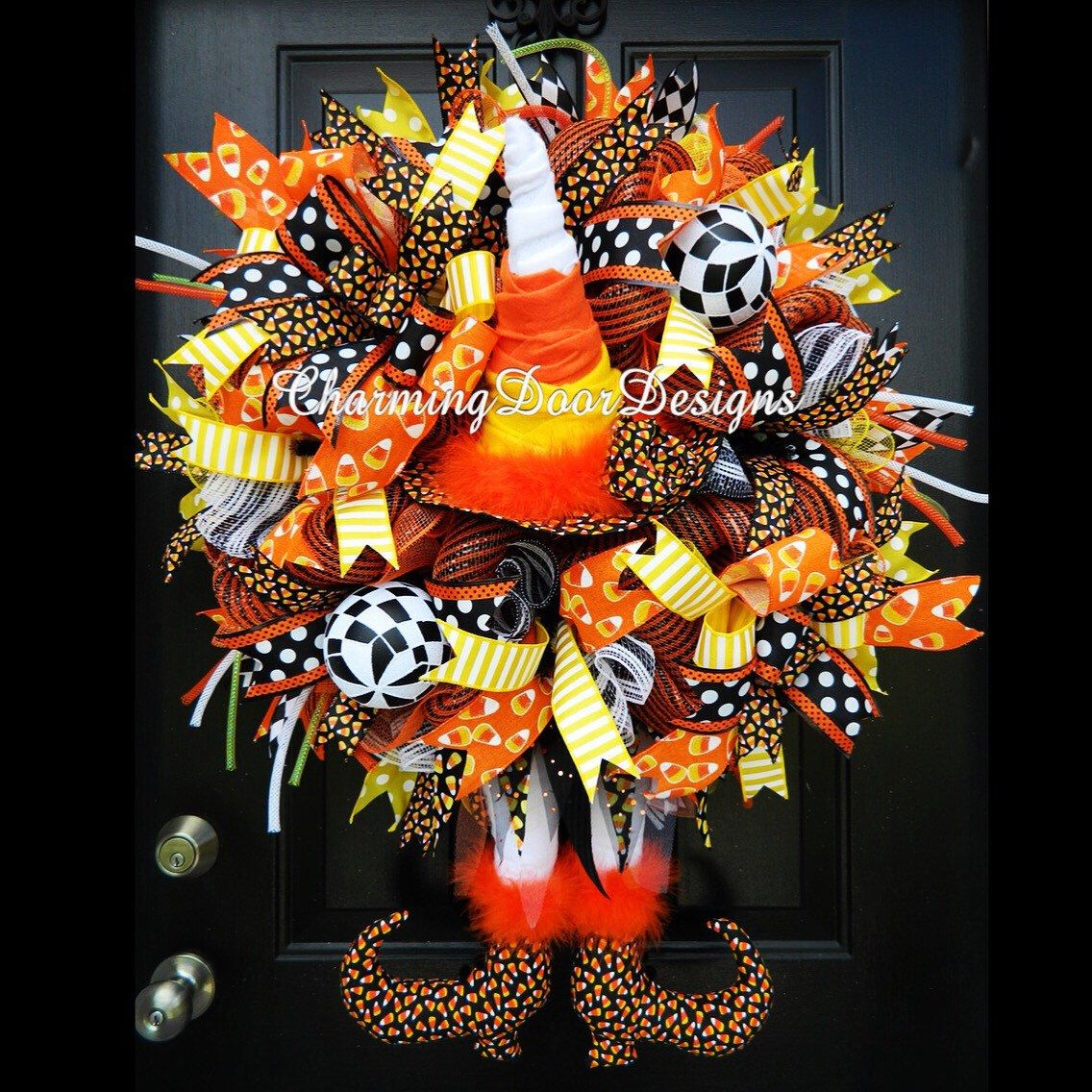 READY TO SHIP! Deluxe Halloween Witch Legs Wreath, Whimsical