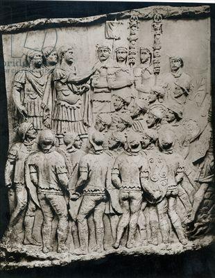 Trajan (98-117) Addresses the Army, a cast taken from Trajan's Column, AD 113 (plaster) (b/w photo)