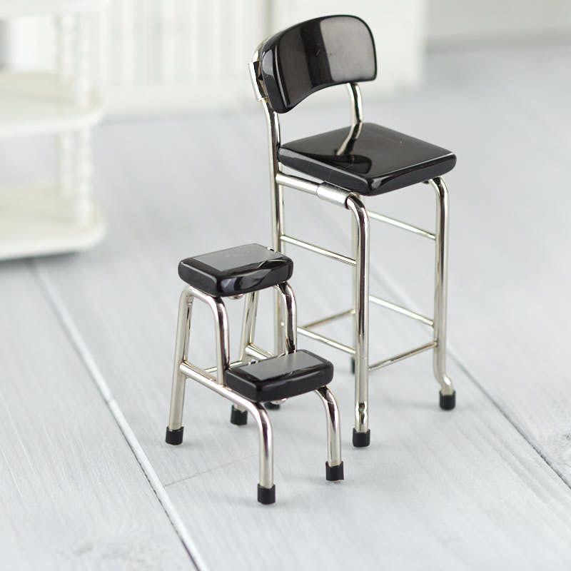 dollhouse miniature retro kitchen chair and step stool set rh pinterest co uk