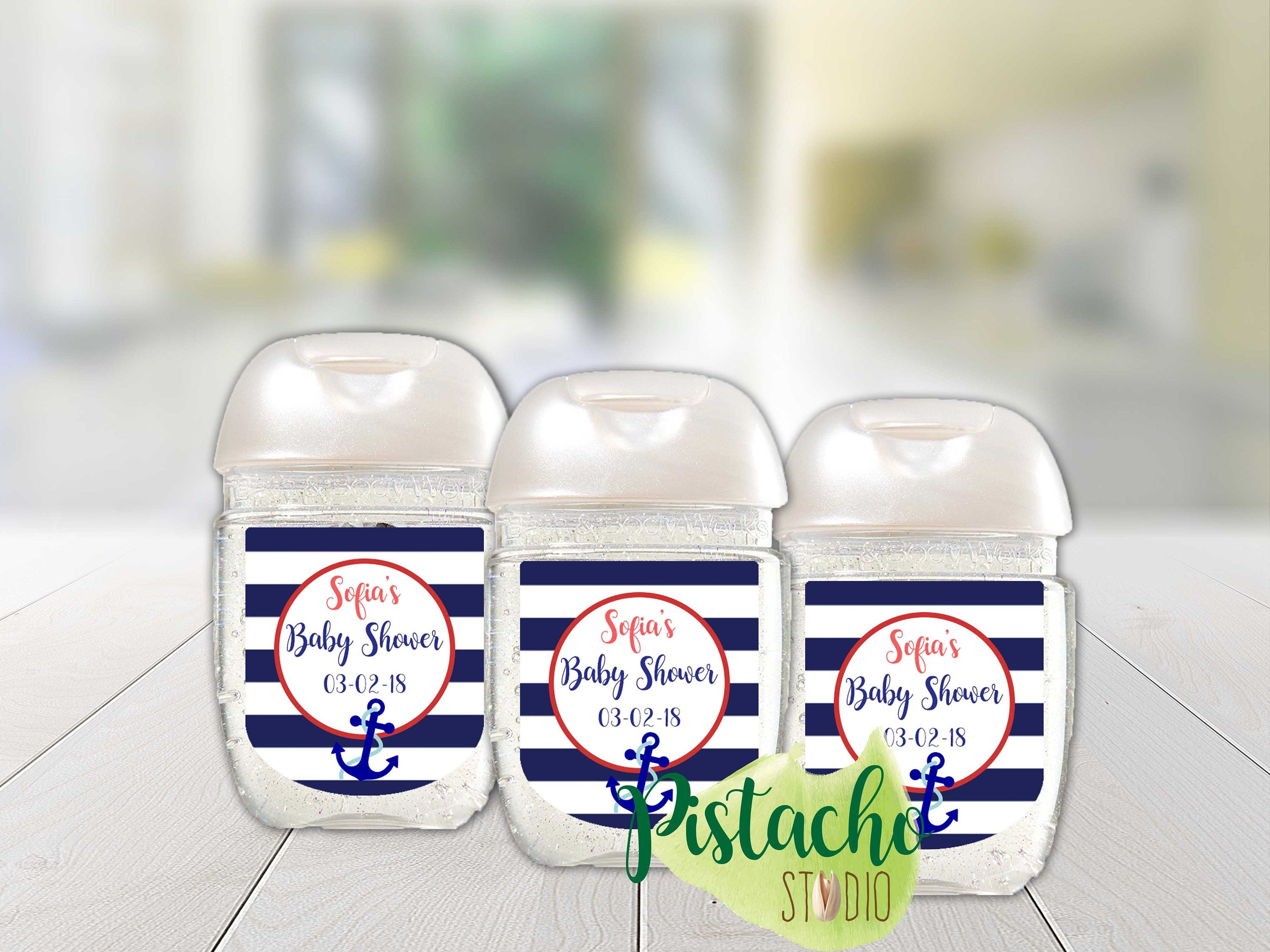 Custom Printable Boy Nautical Baby Shower Sanitizer Labels