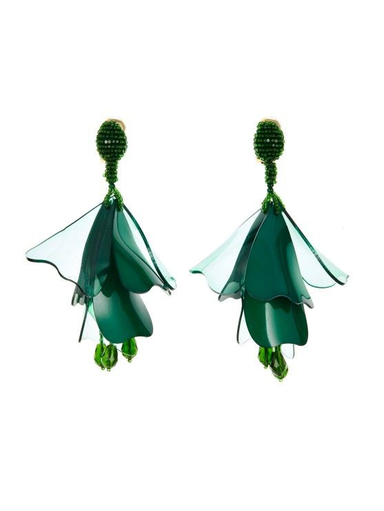 Oscar De La Renta Garnet Long Silk Tiered Tassel Earrings Malachite PxFbHl9qDP