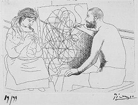 """""""Painter with Model Knitting"""" Piccaso 1927"""