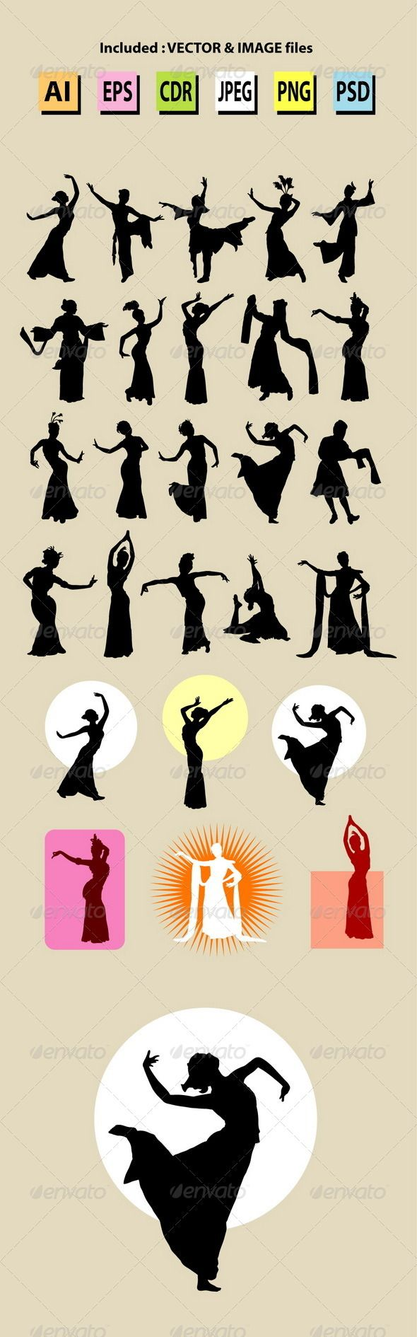 Female Chinese Dance Silhouettes #GraphicRiver Woman traditional chinese dancer pose. Good use for symbol, logo, icon, sticker design, or any design you want. Easy to use, edit, or change color. Use Adobe Illustrator or any support vector program to edit the vector file. ZIP included : AI CS, EPS8, CDR coreldraw (Vector files = You can use any size you want without loss resolution), JPEG high resolution, PNG transparent, and PSD photoshop file. Created: 10 December 13 Graphics Files…