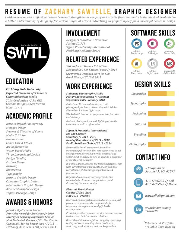 Great three column resume design by Zachary Sawtelle For more - cool resume format