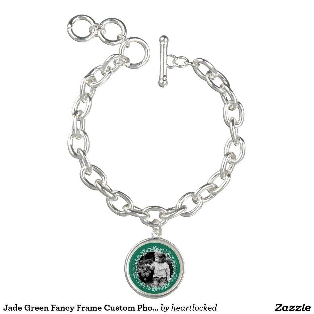 Jade Green Fancy Frame Custom Photo Charm Bracelet | Green with Envy ...