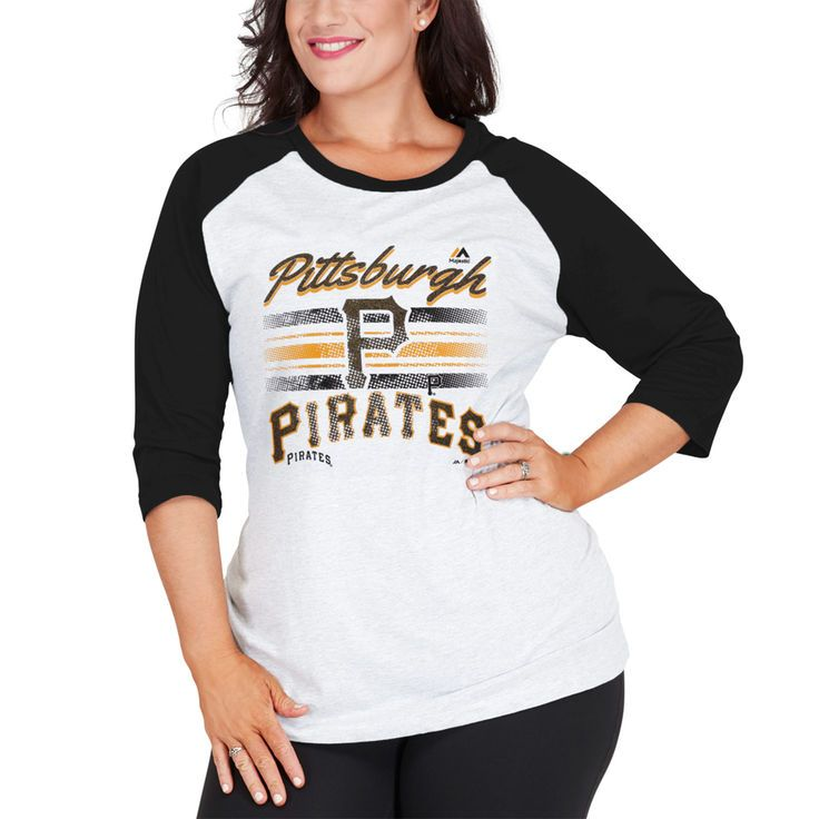 Pittsburgh Pirates Majestic Women's Plus Size Team Logo Raglan Three-Quarter Sleeve T-Shirt - White/Black - $22.99