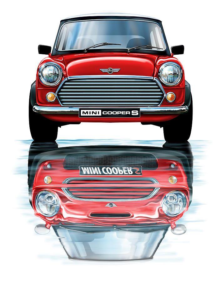 Austin Mini Cooper With New Bmw Mini Cooper Reflected By David