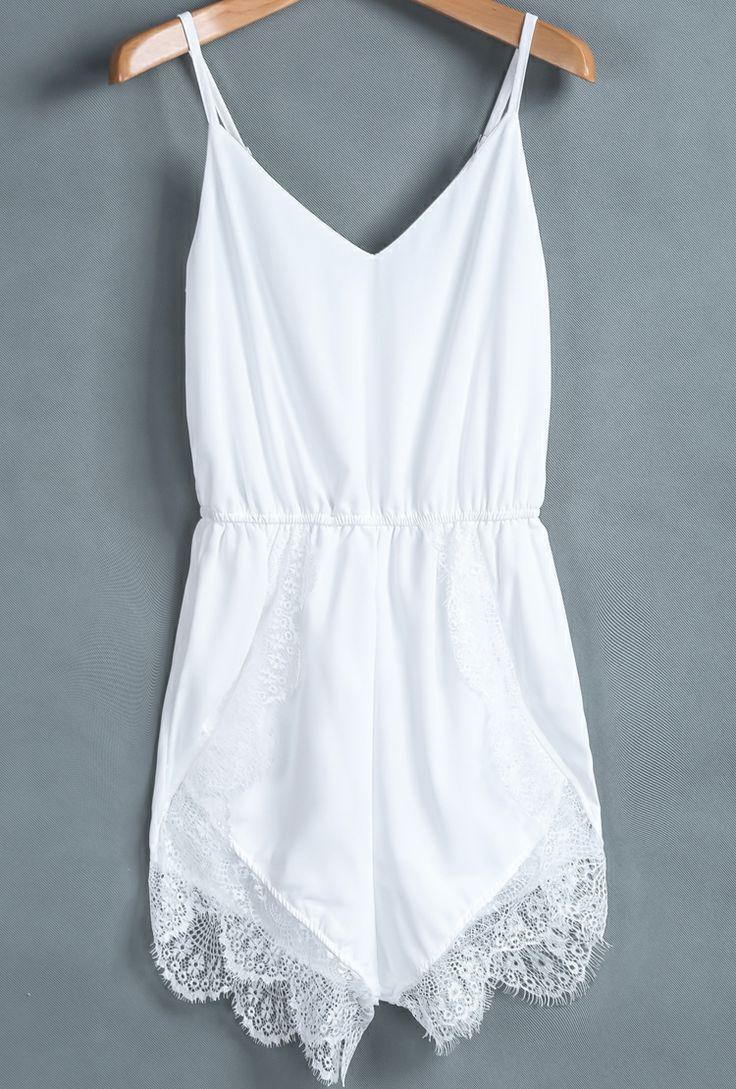 84a10257536 Adorable thin strap white lacy mini romper Lace Jumpsuit