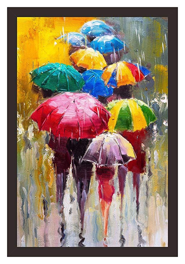 Mad Masters Rainy Day 1 Piece Wooden Framed Painting Wall Art Home Decor Painting Art Unique Design Attrac Umbrella Painting Painting Painting Frames