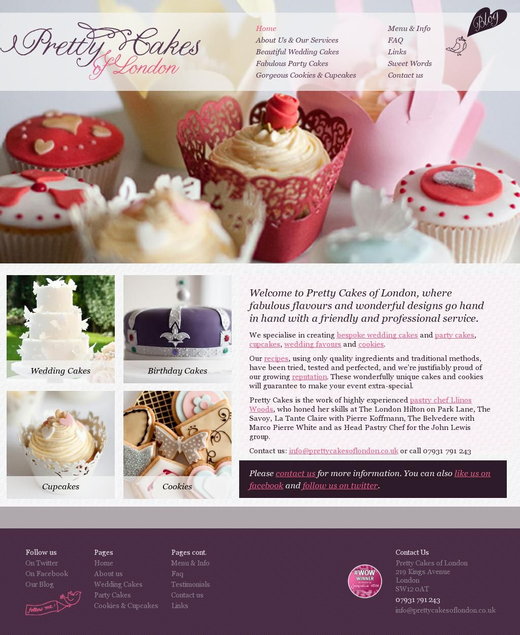 Web design for London based wedding and