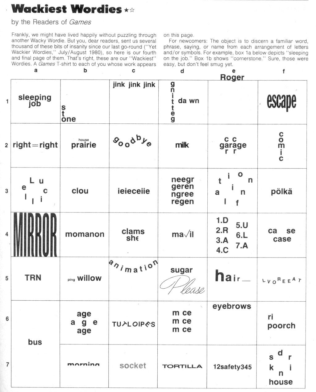 Wackie Wordies 60 Brain teasers, Brain teaser puzzles