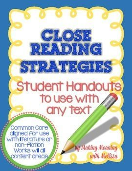 Close Reading Strategy Sheet - Common Core Aligned - Let your middle ...