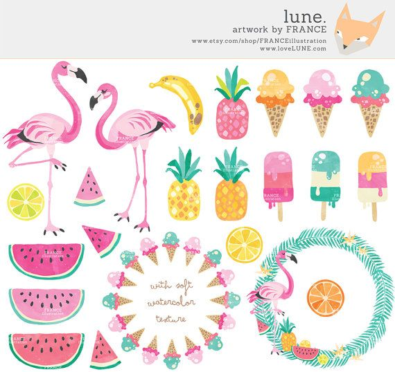 Beach clipart hawaii clipart,planner clipart summer clipart cactus sea clipart tropical clipart flamingo clipart pineapple clipart