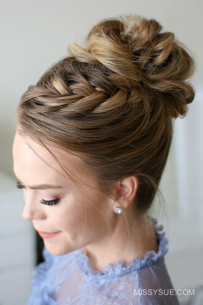 Fishtail French Braid High Bun Missy Sue Hair Styles