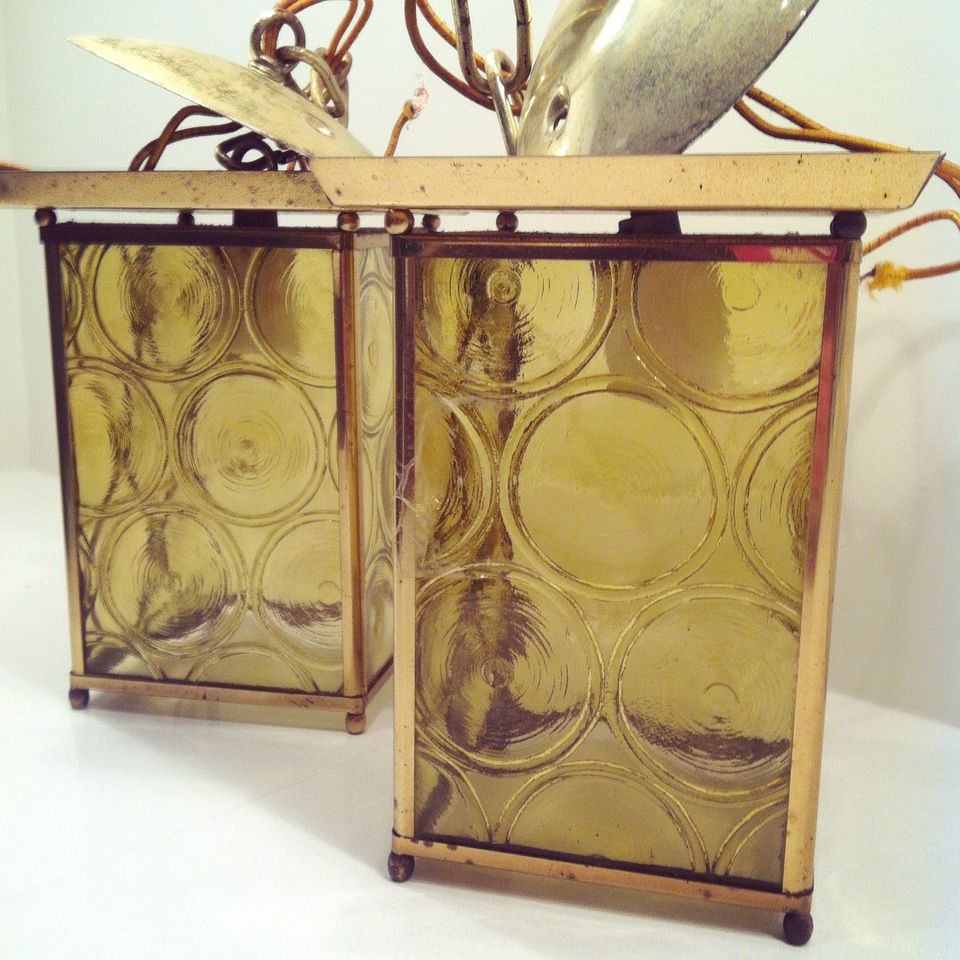 Retro lamps to match our new room divider! #vintage #retrolamps #thrifting