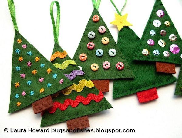 5 Adornos De Navidad Con Fieltro Natal Pinterest Decoracion De - Adronos-de-navidad