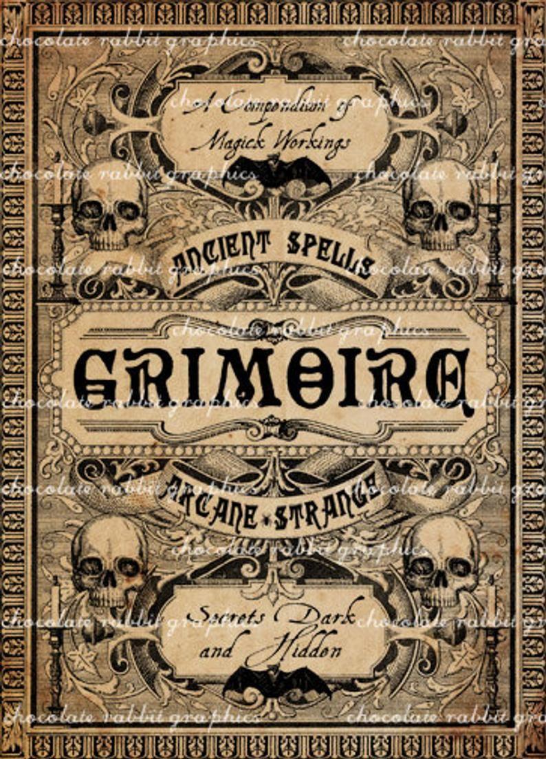 Halloween witch spell book coverprintable junk journal