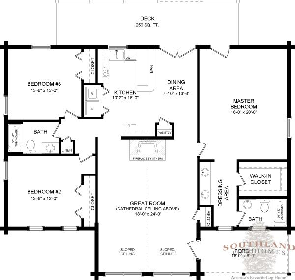 Southlandloghomes wateree i log home 1801 sq ft 40x50 for 40x50 floor plans