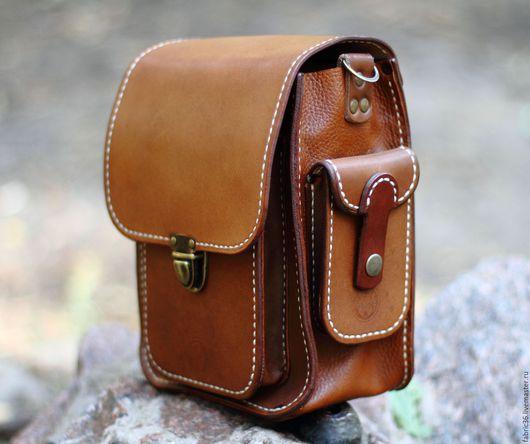 f0638a6313ac Мужские сумки ручной работы. Ярмарка Мастеров - ручная работа. Купить  Мужская сумка из толстой кожи. Handmade. Коричневый