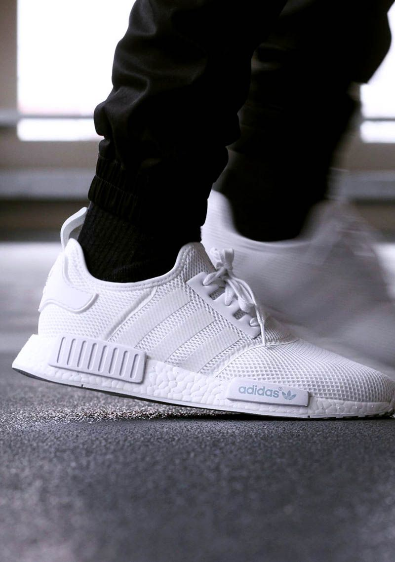 All White NMD R1 | Stylish sneakers, Shoes mens