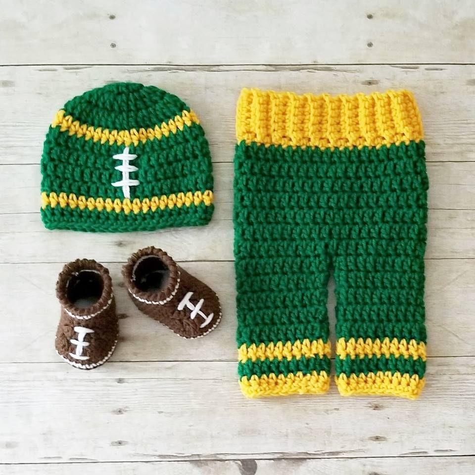 e2f898b51487f8 Crochet Baby Football Beanie Hat Shoes Pants Set NFL Team Infant Newborn  Baby Handmade Photography Photo Prop Baby Shower Gift Present