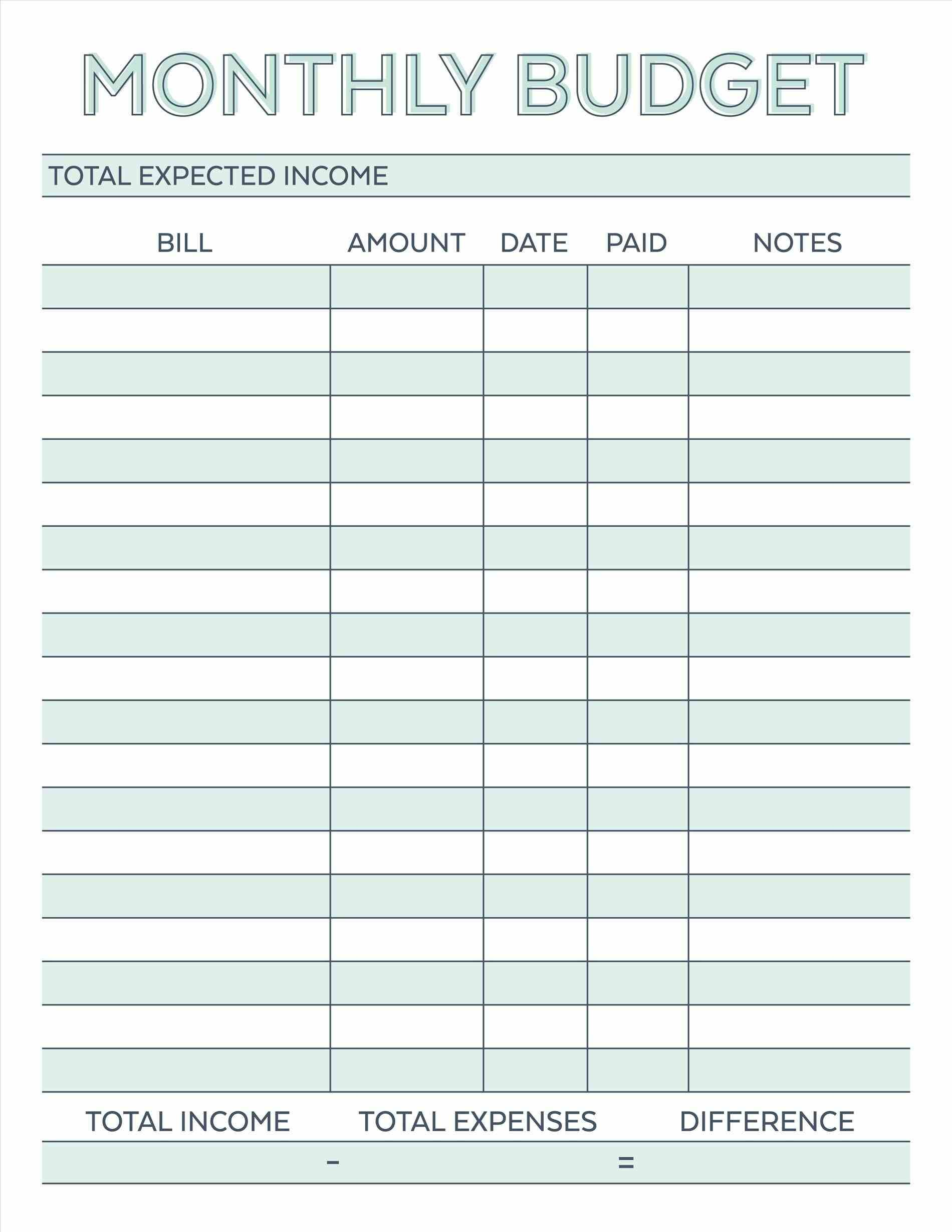 Image Result For Free Monthly Budget Template