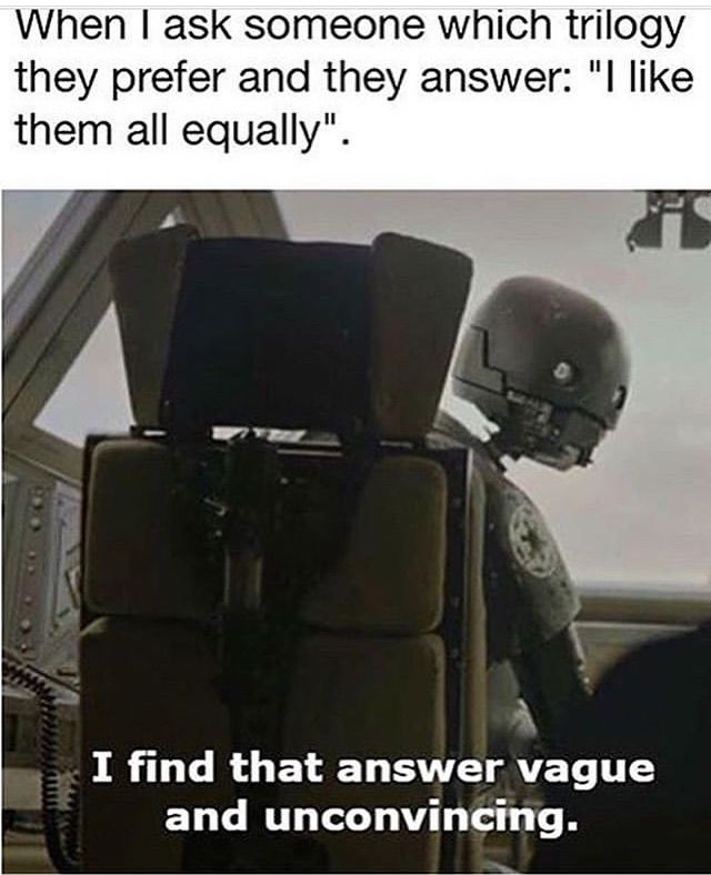 I Find That Answer Vague And Unconvincing Star Wars Memes Star Wars Humor Funny Star Wars Memes