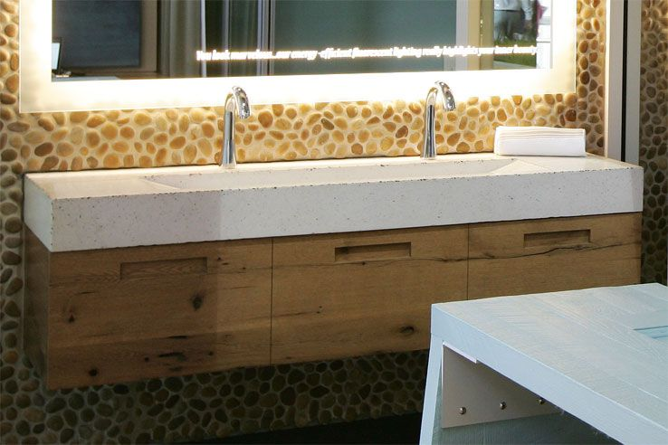Custom Bathroom Double Vanities double faucet trough style sink | trough sink - custom bathroom