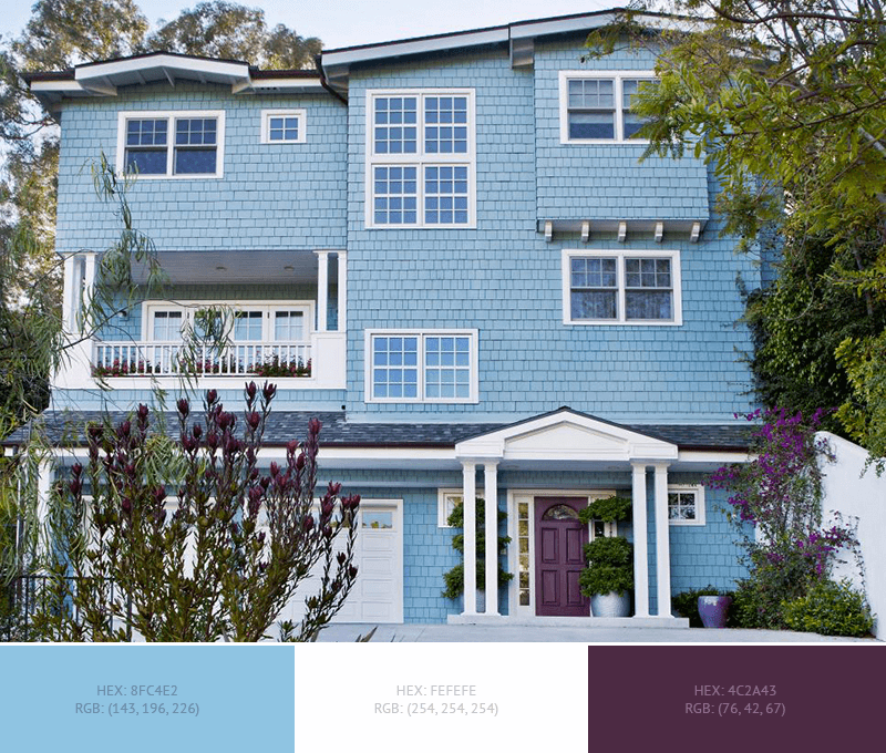 This Beautiful House Exterior Has 4 Colors Combination With Dark Sky Blue Blue Yon House Exterior Blue Exterior House Colors Exterior Paint Color Combinations