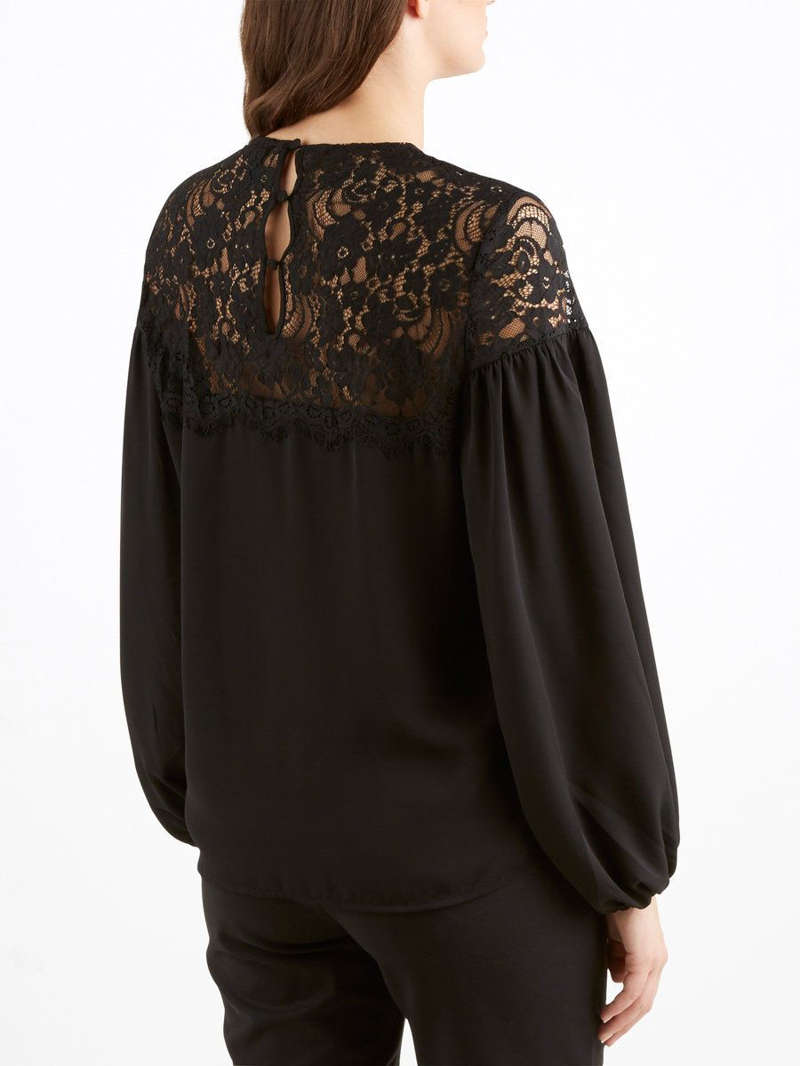 LACE LONG SLEEVED TOP, Black