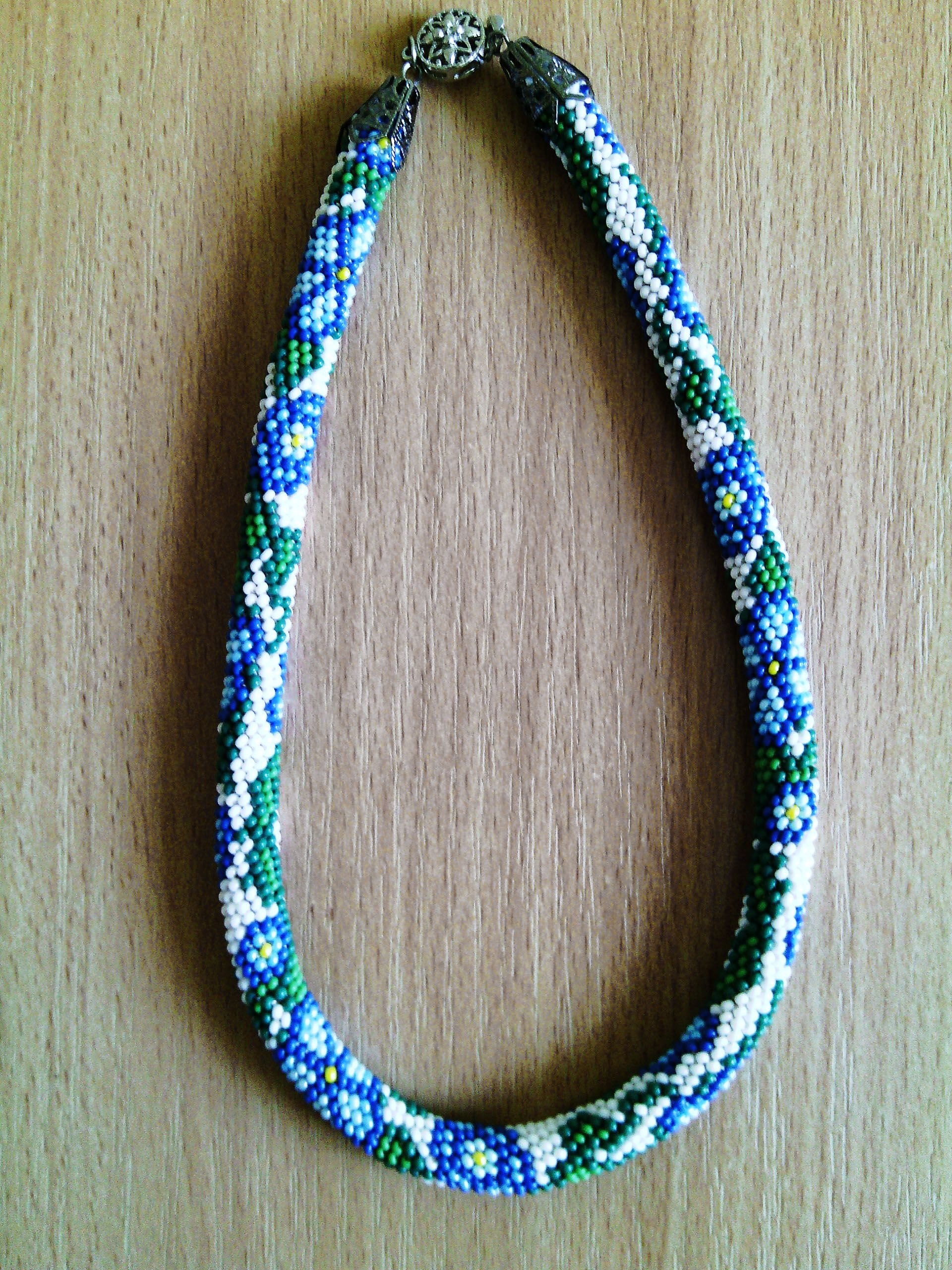 """necklace  """"blue flowers"""" #necklace #handmade #bead"""