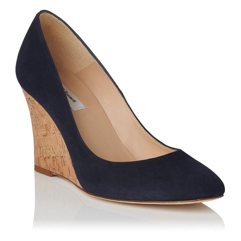 Eila Navy Suede Closed Courts | Shoes