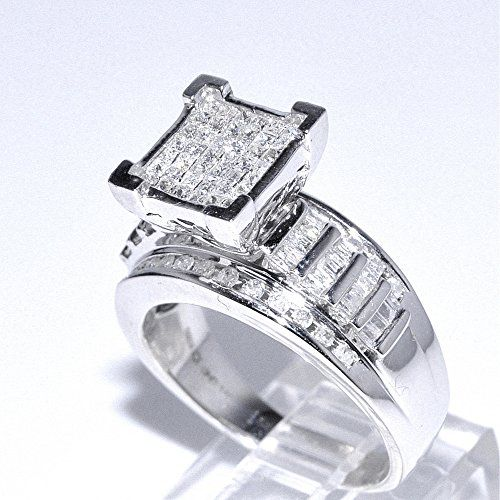 1ct diamond wedding ring 3 in 1 style sterling silver 10mm wide princess cut top - Sterling Silver Diamond Wedding Rings