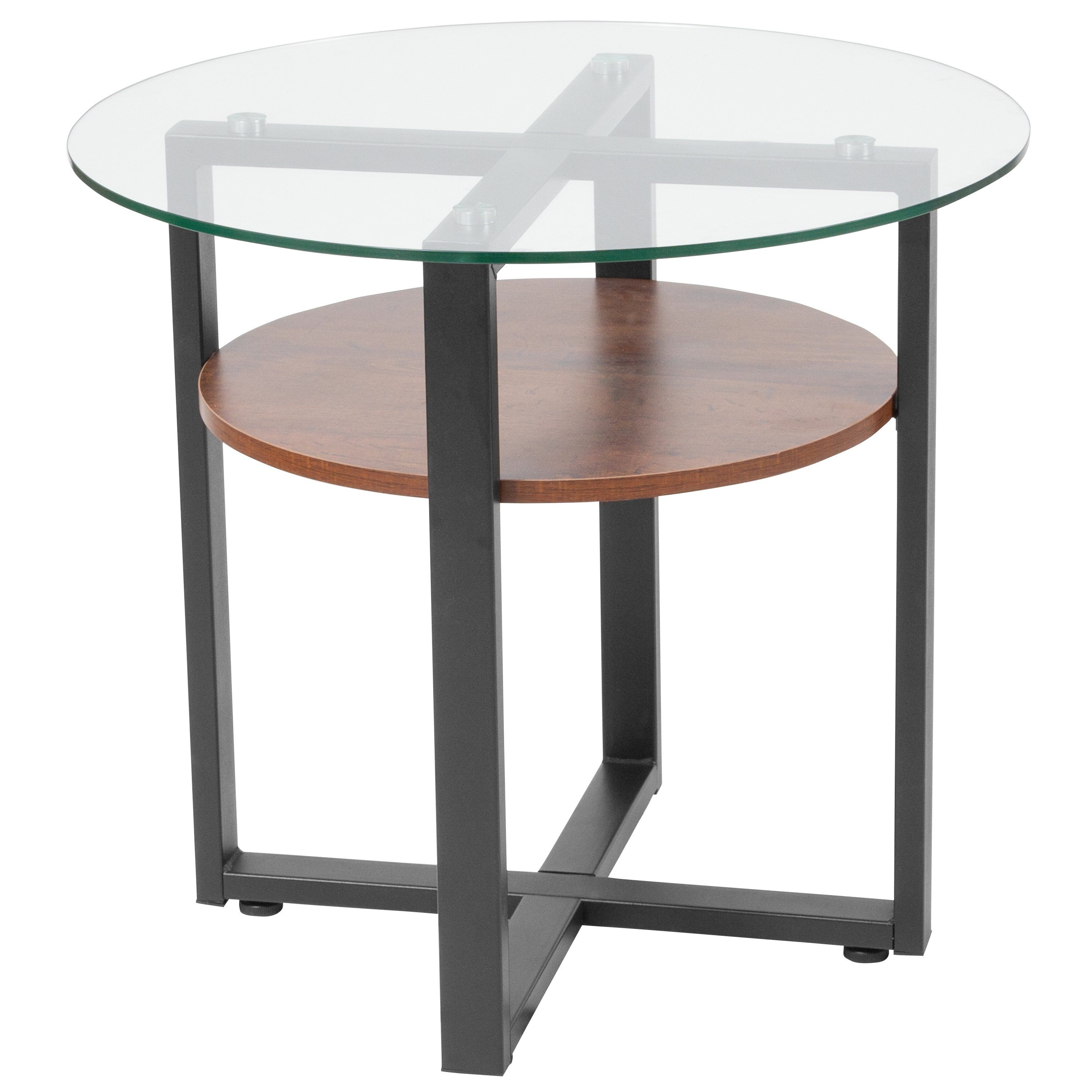 B Home Collection Glass Side Table With Rustic Oak Wood Finish And Black Metal Legs Glass Side Tables Side Table Wood Side Table [ 3000 x 3000 Pixel ]