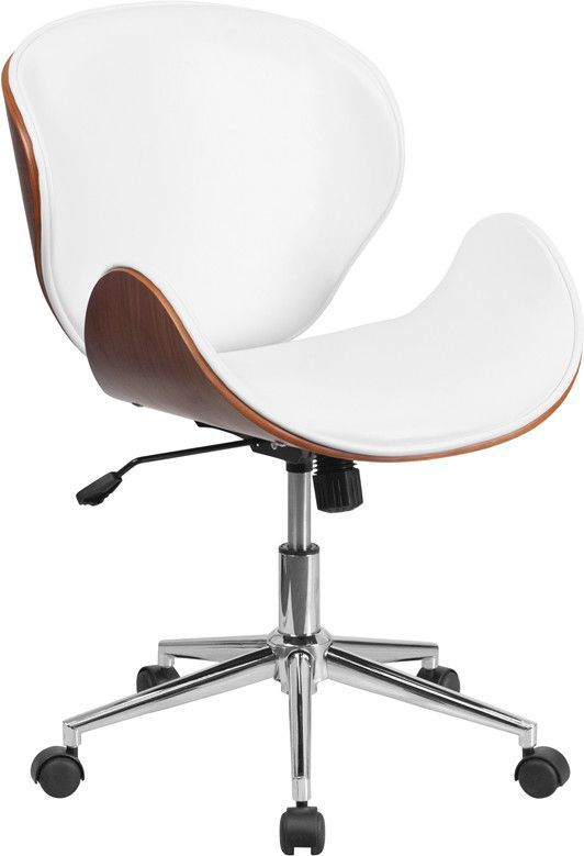 White Leather Swivel Desk Chair Counter Height Table With 8 Chairs Flash Furniture Mid Back Walnut Wood Conference In