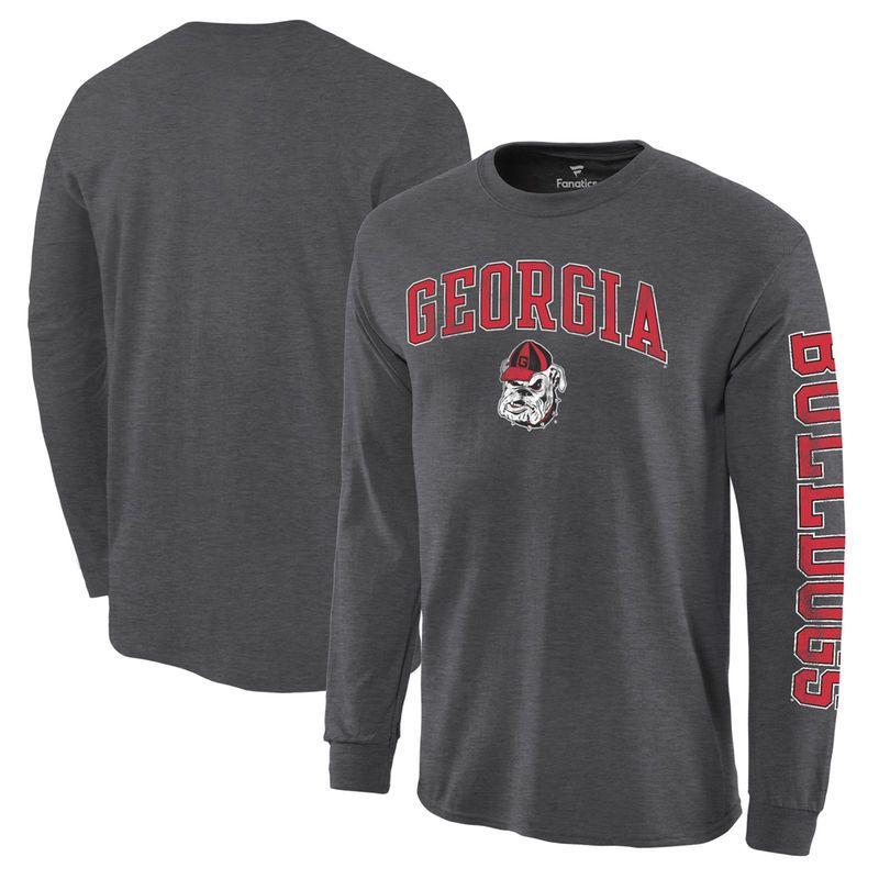 bf13a193982 Georgia Bulldogs Distressed Arch Over Logo Long Sleeve Hit T-Shirt -  Charcoal