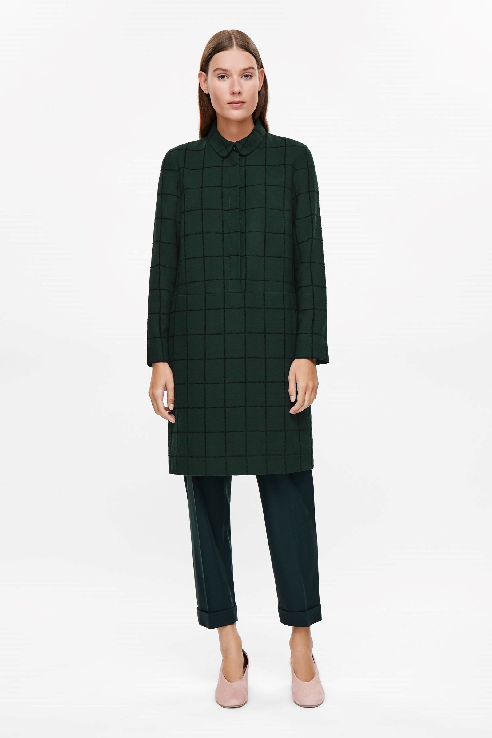 0bba8334beb9 COS image 1 of Checked shirt dress in Bottle Green | Fall to Winter ...