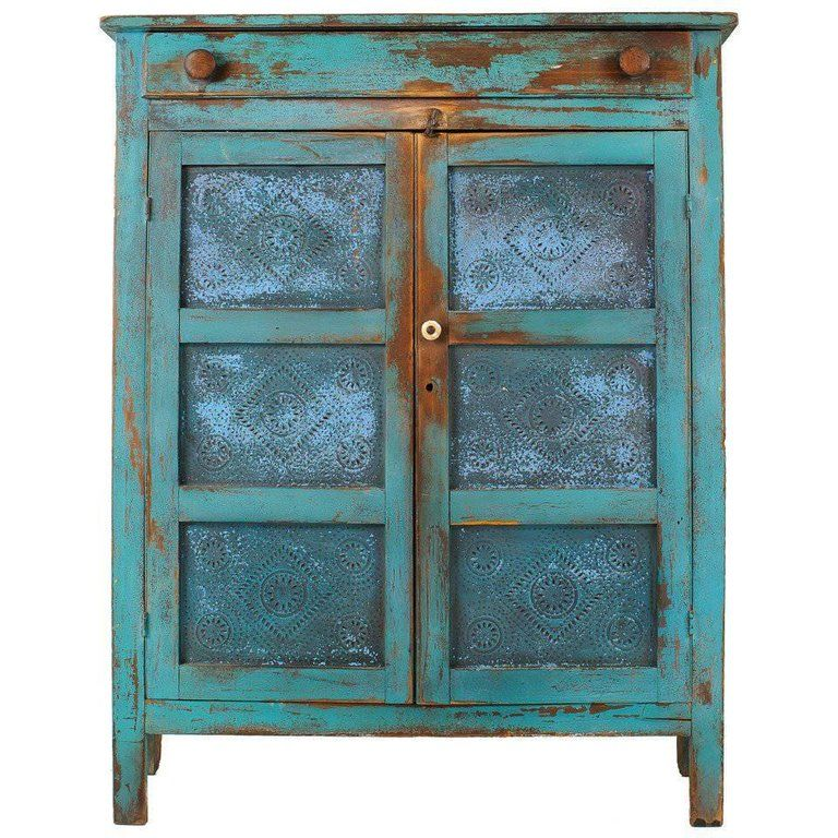 Elegant American Primitive Painted Pie Safe With Punched Tin Panels