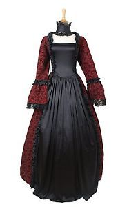 9911ac73b9 Long Sleeve Square Neck Satin Gothic Victorian Dress Aristocrat Outfits s 6