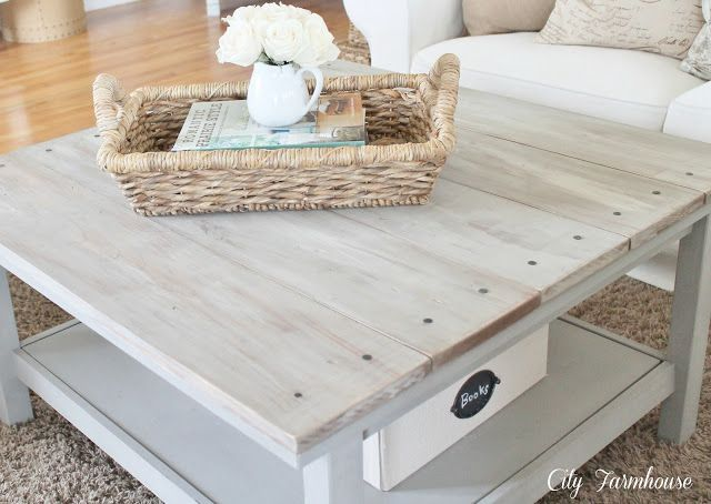Ikea hacked barnboard coffee table tutorial city for Ikea farmhouse coffee table